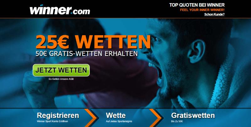 winner Neukundenbonus: 50€ Gratiswetten